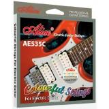 Струны для электрогитары Alice AE535C цветные супер легкое натяжение